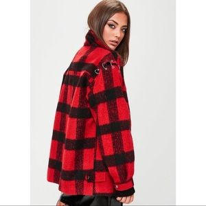 MISSGUIDED Oversized Checkered Trucker Jacket